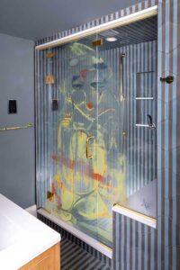 Adirenne Bluewall Printed Shower Glass